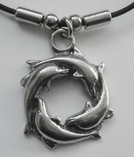 Choker #1137 Pewter CIRCLE OF DOLPHINS (39mm x 30mm) Rubber Necklace Unisex