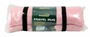 Travel Rug Fleece Portable Carry Camping Warm Soft Blanket Wheelchair Throw Pink
