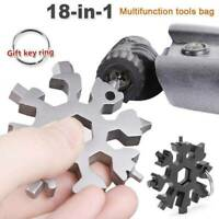 18 In 1 DIY Stainless Multi-Tool Portable Snowflake Shape,Key Chain Screwdriver