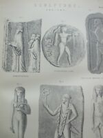 ANTIQUE PRINT C1870'S ANCIENT SCULPTURE ENGRAVING EGYPTIAN ETRUSCAN ART ETCHING