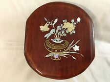 Vintage Oval Wood Box Bowl Footed With Lid Pearl and Brass Design (11 x 10�)