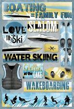 Scrapbooking Crafts Kf Stickers Boating Family Fun Water Skiing Slalom Wake Lake