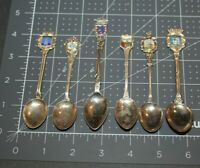 LOT OF 6 VINTAGE SOUVENIR COLLECTOR SPOONS W/ ENAMEL HEADERS  MADRID, BREGENZ