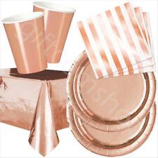 Or Rose Fête Vaisselle-Confettis Papier Tasses Assiettes et Serviettes 16 de chaque