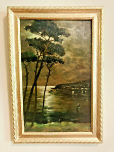 Antique Landscape Oil Painting on Board Evening Moonlight Over Shoreline & Cove