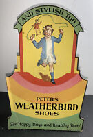 Weatherbird Shoes Die Cut Cardboard Sign C 1940 Original Girl  Clothing Fashion