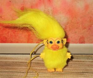 """Baby Chick Troll ooak 3"""" doll custom yellow bird Easter basket necklace spring"""