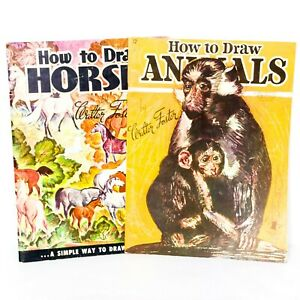 Walter Foster How To Draw Animals Horses VTG Art Drawing Books 11 12