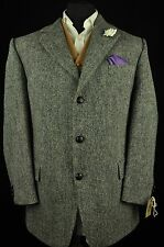 "Vtg Harris Tweed Mario Barutti Speckled Tailored Hacking Jacket 44"" Short SUPERB"