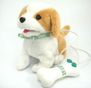 Plush Remote Control Puppy Dog Brown White Barks Walks Wags Tail Adorable