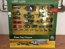 John Deere 70 Piece Farm Toy Playset w Machine Shed 1/64 scale by Ertl/Tomy