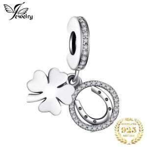 GOOD LUCK CLOVER HORSESHOE CZ PAVE DANGLE CHARM GENUINE S925 STERLING SILVER
