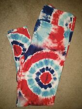 LuLaRoe AMERICAN SUMMER TC Leggings * TIE DYE * blue TEAL white RED New