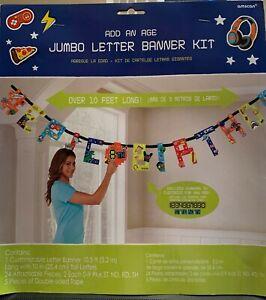 3 X Happy Birthday - Add an age Jumbo Letter Banner Kit - 10 feet long