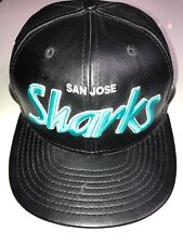 San Jose Sharks Black Faux Leather Black hat New Era 9Fifty Snap Back NHL