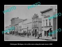 OLD LARGE HISTORIC PHOTO OF CHEBOYGAN MICHIGAN, VIEW OF THE MAIN St STORES c1880