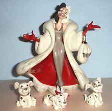 Lenox Disney Cruella DeVil Hand Painted Figurine & 3 Puppies 101 Dalmatians New