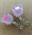 Bling pink Minnie Mouse retractable ID HOLDER badge reel lanyard retractor 2ps
