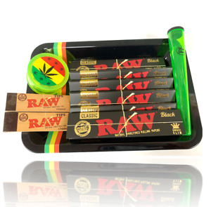 Wise Skies Smoking Gift Tray Set Black RAW Limited Edition Rolling Paper Grinder