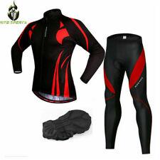 Mens Cycling Jersey Trouser Set Long Sleeve Tops Gel Padded Pants Warm Bike Suit