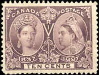 1897 Mint H Canada F+ Scott #57 10c Diamond Jubilee Stamp