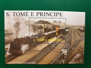 Sao Tome and Principe 1987 locomotives MNH stamp Block