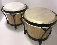 Natural Wood PRO BONGOS Mini Conga Drum Set Studio Band Music Instruments Bongo