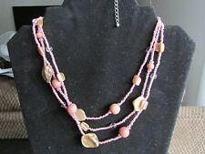 Silver Tone Multi Layer Pink Bead & Tan Pearlescent Stone Necklace