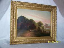 *George Henry Burgess*Antique Original Oil On Canvas Landscape Painting