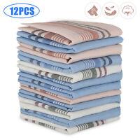 12Pcs Random Cotton Men Handkerchiefs Hanky Pocket Square Hankie Lot Set Vintage