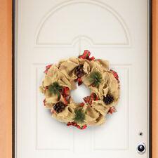 Ghirlanda Dietroporta Juta e Tessuto Scozzese Decorazioni Porta Natale con Pigne
