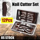 12Pcs Pedicure Manicure Kit Set Nail Polish Clipper Cutter Supplies Travel Case