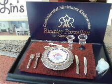 Reutter porcelain Dolls House 1:12th Scale Royal Blue Dinner Setting 13738