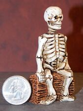 Dollhouse Miniature Halloween Skeleton on log 1:12 inch scale D65 Dollys Gallery