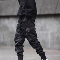 Men Street Tactical Cargo Pants Harajuku Joggers Harem Pants Hip Hop Black S-3XL