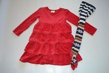 Hanna Andersson Velour Twirl Dress Red Fair Isle Tights Size 110 120 Girl