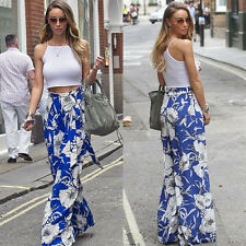 Women Boho Loose Wide Leg Pants Palazzo High Waist Casual Flared Yoga Trousers