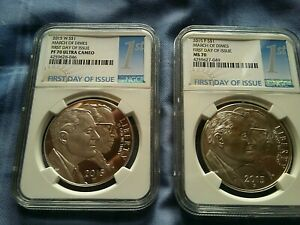 "2015 W & 2015 P MARCH OF DIMES S $1 ""FIRST DAY OF ISSUE"" PF 70 UC & MS 70 NGC"