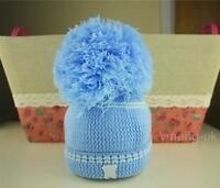 NEW Collection Baby Big Pom Pom Hats/ Boy/ Gir / Pink/ Blue/ White/ 0-3 Months