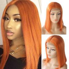 Orange Bob Wig Lace Front Wigs Brazilian Straight Human Hair Wig Real Hair Wigs