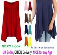 New Ladies Plus Size Hanky Hem Raw Edge Sleeveless Scoop Neck Vest Top 8-26 Hnky