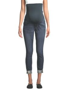 Alivia Ford Maternity Casual Rolled Cuff Jeans, Dark Wash, Large