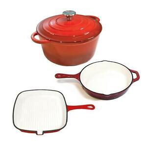 Chef's Quality Cast Iron Enamel Cookware Set - Dutch Oven, Skillet & Griddle Pan