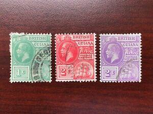 British Guiana 1921-23 Scott #191-193, SG #272-274 King George V and Seal Used