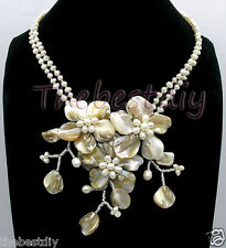 pearl flower necklace Statement Necklace bid necklace Mop shell Crystal Fw