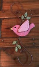 Primitive New Metal Pink Rustic Bird Hanger For Chimes Or Small Birdhouse