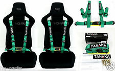 2 X TANAKA UNIVERSAL GREEN 4 POINT BUCKLE RACING SEAT BELT HARNESS