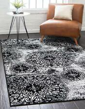 Throw Rug Black And White Vintage Living Room Bedroom Accent Area Floor Mat 5x8