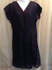 TRUE VINTAGE 1940's Navy Blue Lace Taffeta Lined Dress WWII era