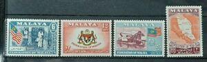 MALAYAN MALAYA ( MALAYSIA ) FEDERATION 1957 - 1962 SG 1 - 4 MXLH OG (SET 2)